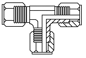 "1/4"" tube x 1/4"" tube union tee"