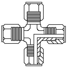 "1/4"" tube x 1/4"" tube  union cross"