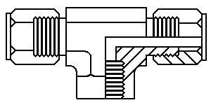 "1/4"" tube x 1/4"" FPT x 1/4"" tube female branch tee"