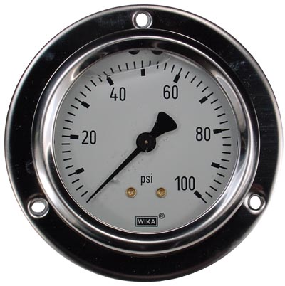 Panel Mount 0-100 psi gauge